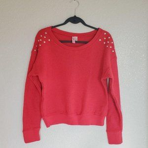 Dolled Up Red Waffle Knit Sweater L